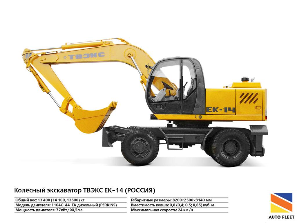Колесный экскаватор ТВЭКС EK-14 ( РОССИЯ ). Купить +7 (495) 773-3494
